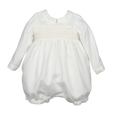 Luli & Me Baby Boys Smocked Ivory Bubble