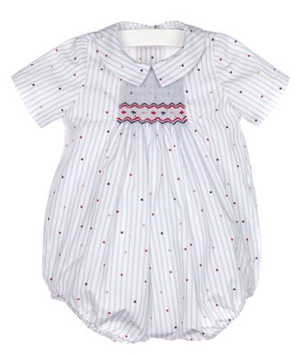 Luli & Me Baby Boys White Striped Stars & Stripes Smocked Bubble