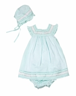 Luli & Me Baby Girls Aqua Dress with Lace Insets - Bloomers & Bonnet Included!