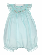 Luli & Me Baby Girls Aqua Smocked Bubble with Hat