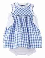 Luli & Me Baby Girls Blue Checks Dress with White Bows and Bloomers