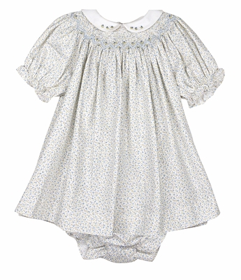 Luli & Me Baby Girls Blue Floral Smocked Dress with Collar and Bloomers