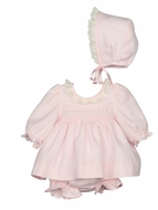 Luli & Me Baby Girls Dress with Lace & Bonnet - Pink