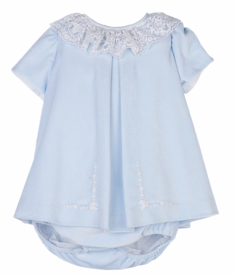 Luli & Me Baby Girls Ice Blue Velvet Dress with Lace Trim - Bonnet & Bloomers