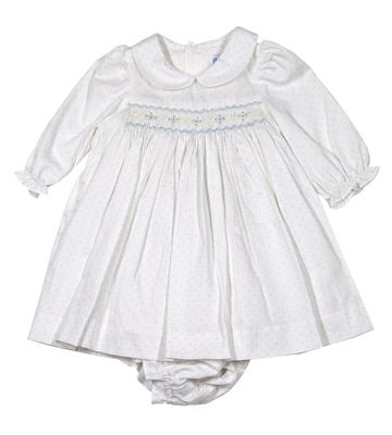 Luli & Me Baby Girls Ivory / Blue Dots Smocked Dress with Bloomers
