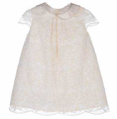 Luli & Me Baby Girls Ivory Lace Scallops Dress with Collar
