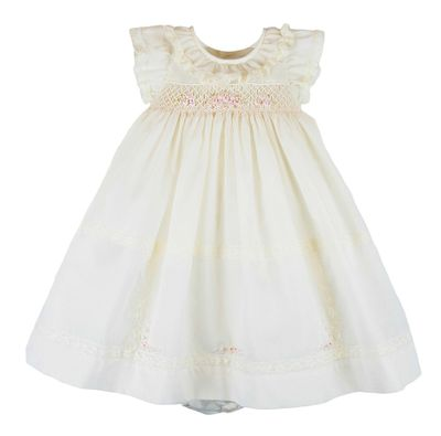Luli & Me Baby Girls Ivory Smocked Gown Dress Set with Bloomers