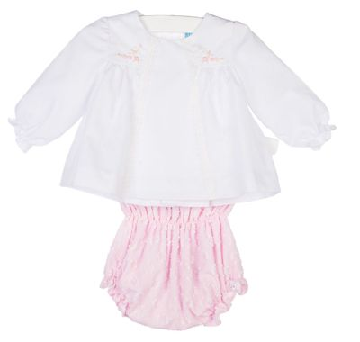 Luli & Me Baby Girls Off-White Dress Set - Pink Embroidery - Bloomers and Bonnet