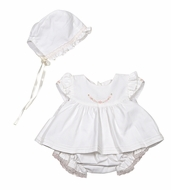 Luli & Me Baby Girls Off-White Embroidered Dress Set with Bloomers & Bonnet