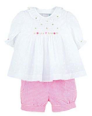 Luli & Me Baby / Toddler Girls Pink Check Seersucker Banded Shorts with Smocked Dotted Swiss Top
