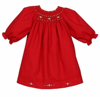 Luli & Me Baby Girls Red Smocked Christmas Bishop Dress - Long Sleeves