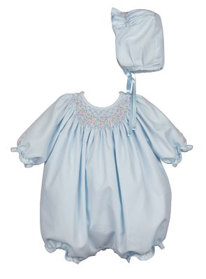 Luli & Me Baby Girls Smocked Bubble with Hat - Blue