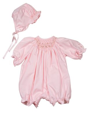 Luli & Me Baby Girls Smocked Bubble with Hat - Pink