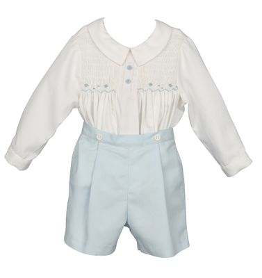 Luli & Me Baby / Toddler Boys Blue Button On Outfit
