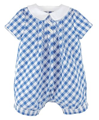 Luli & Me Baby / Toddler Boys Blue Checks Bubble Romper