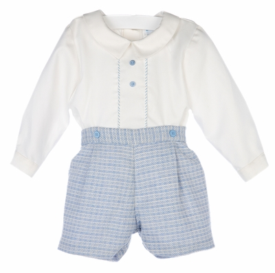 Luli & Me Baby / Toddler Boys Blue Plaid Embroidered Button On Outfit