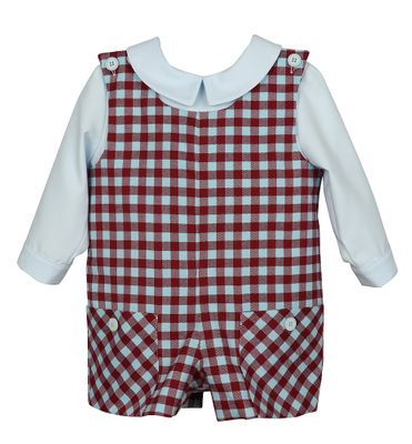 Luli & Me Baby / Toddler Boys Burgundy / Blue Check Pocket Shortall with Blue Shirt