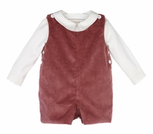 Luli & Me Baby / Toddler Boys Burgundy Corduroy Jon Jon with Shirt