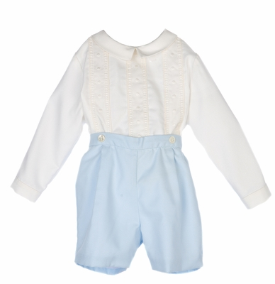 Luli & Me Baby / Toddler Boys Dressy Ivory / Blue Embroidered Button On Outfit