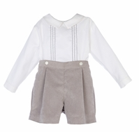 Luli & Me Baby / Toddler Boys Dressy Grey Corduroy Embroidered Button On Set