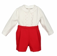 Luli & Me Baby / Toddler Boys Dressy Red Christmas Button On Outfit