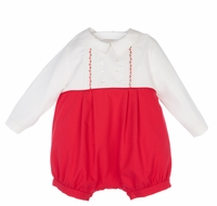 Luli & Me Baby / Toddler Boys Embroidered Red / White Christmas Bubble