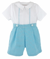 Luli & Me Baby / Toddler Boys Gingham Seersucker Button On Shorts Set - Turquoise Blue