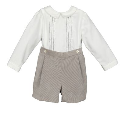 Luli & Me Baby / Toddler Boys Gray Corduroy Button On Set