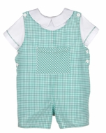 Luli & Me Baby / Toddler Boys Green Gingham Shortall with Shirt