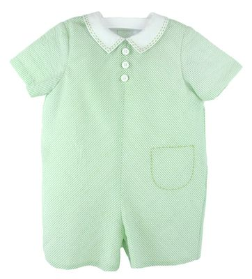 Luli & Me Baby / Toddler Boys Green Stripe Romper with Collar