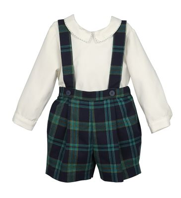 Luli & Me Baby / Toddler Boys Navy Blue / Green Blackwatch Plaid Suspender Shorts with Shirt