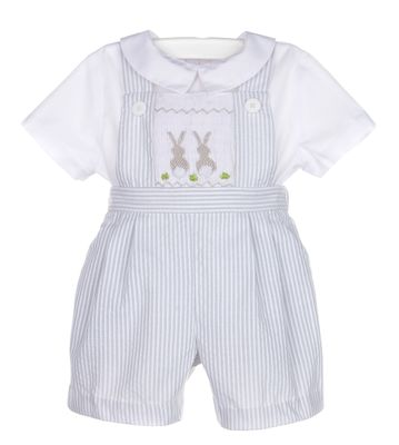 Luli & Me Baby / Toddler Boys Grey Stripe Smocked Easter Bunny Overall with Shirt
