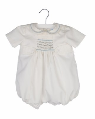 Luli & Me Baby / Toddler Boys Ivory Bubble with Tabs - Smocked in Blue / Gray
