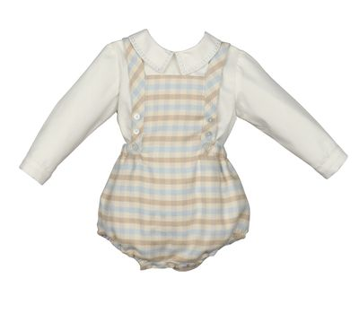 Luli & Me Baby / Toddler Boys Blue / Tan Check Overall Bubble with Shirt
