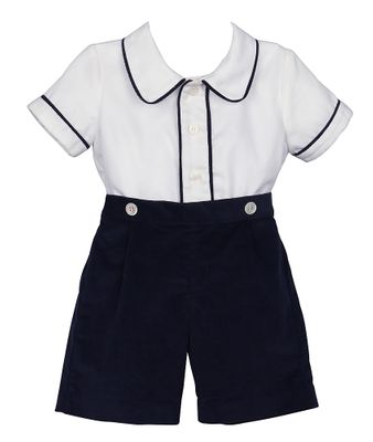 Luli & Me Baby / Toddler Boys Navy Blue Cord Button On