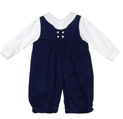 Luli & Me Baby / Toddler Boys Navy Blue Corduroy Romper with Shirt