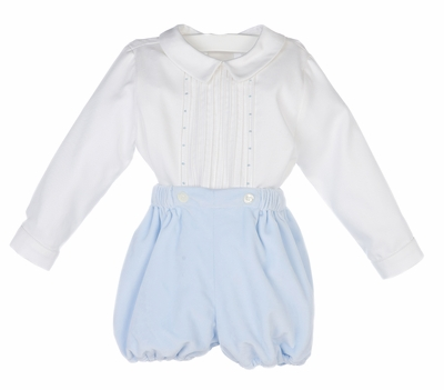 Luli & Me Baby / Toddler Boys Off White Embroidered Top - Blue Velvet Button On Bubble Shorts