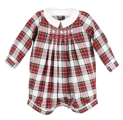 Luli & Me Baby / Toddler Boys Red Holiday Plaid Smocked Bubble