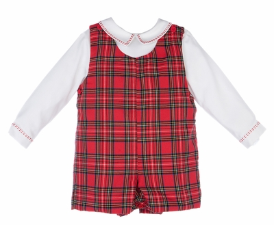 Luli & Me Baby / Toddler Boys Red Tartan Holiday Plaid Jon Jon with Embroidered Shirt