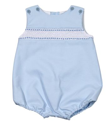 Luli & Me Baby / Toddler Boys Sleeveless Blue Pique Smocked Bubble