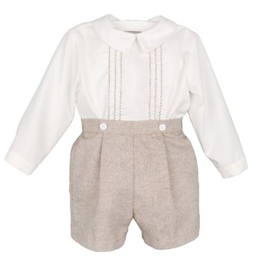 Luli & Me Baby / Toddler Boys Tan Button On Shorts Outfit with Embroidered Shirt