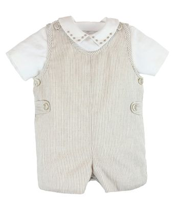 Luli & Me Baby / Toddler Boys Tan Striped Linen Blend Shortall with Embroidered Shirt