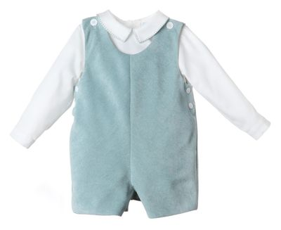 Luli & Me Baby / Toddler Boys Turqouise Blue Classic Johnny Boy Shortall with Shirt