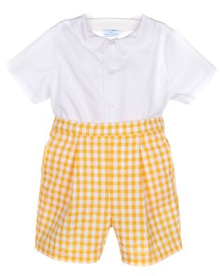 Luli & Me Baby / Toddler Boys Yellow Gingham Dressy Shorts Outfit