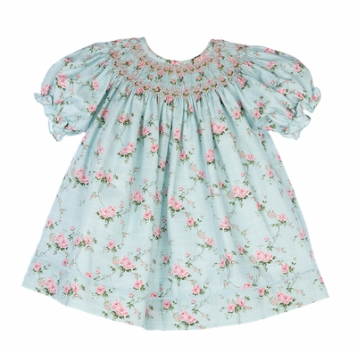 Luli & Me Baby / Toddler Girls Aqua / Pink Floral Smocked Bishop Dress