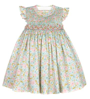 Luli & Me Baby / Toddler Girls Aqua / Pink Roses Print Smocked Dress