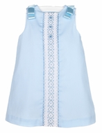 Luli & Me Baby / Toddler Girls Blue A-Line Smocked Dress - Bows on Shoulders