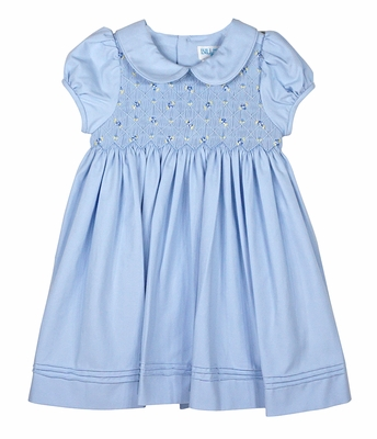 Luli & Me Baby / Toddler Girls Blue Dress with Collar - Smocked Bodice