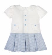Luli & Me Baby / Toddler Girls Blue Plaid Drop Waist Dress with Stitched Collar and Faux Pockets