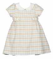 Luli & Me Baby / Toddler Girls Blue / Tan Check Dress